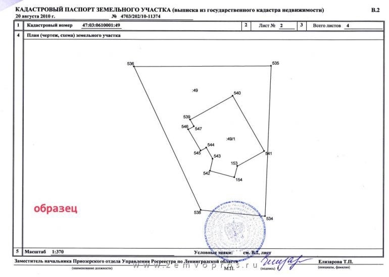 Образец кадастрового паспорта земельного участка (2 страница)