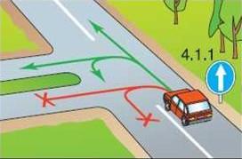 Что запрещает знак движение прямо?