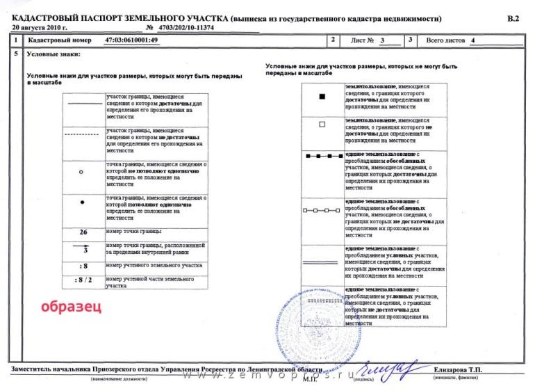 Образец кадастрового паспорта земельного участка (3 страница)